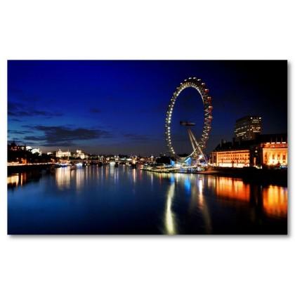 Αφίσα (Λονδίνο, μάτι, γέφυρα, ουρανός, Τάμεσης, ενωμένος, βασίλειο, πόλη)